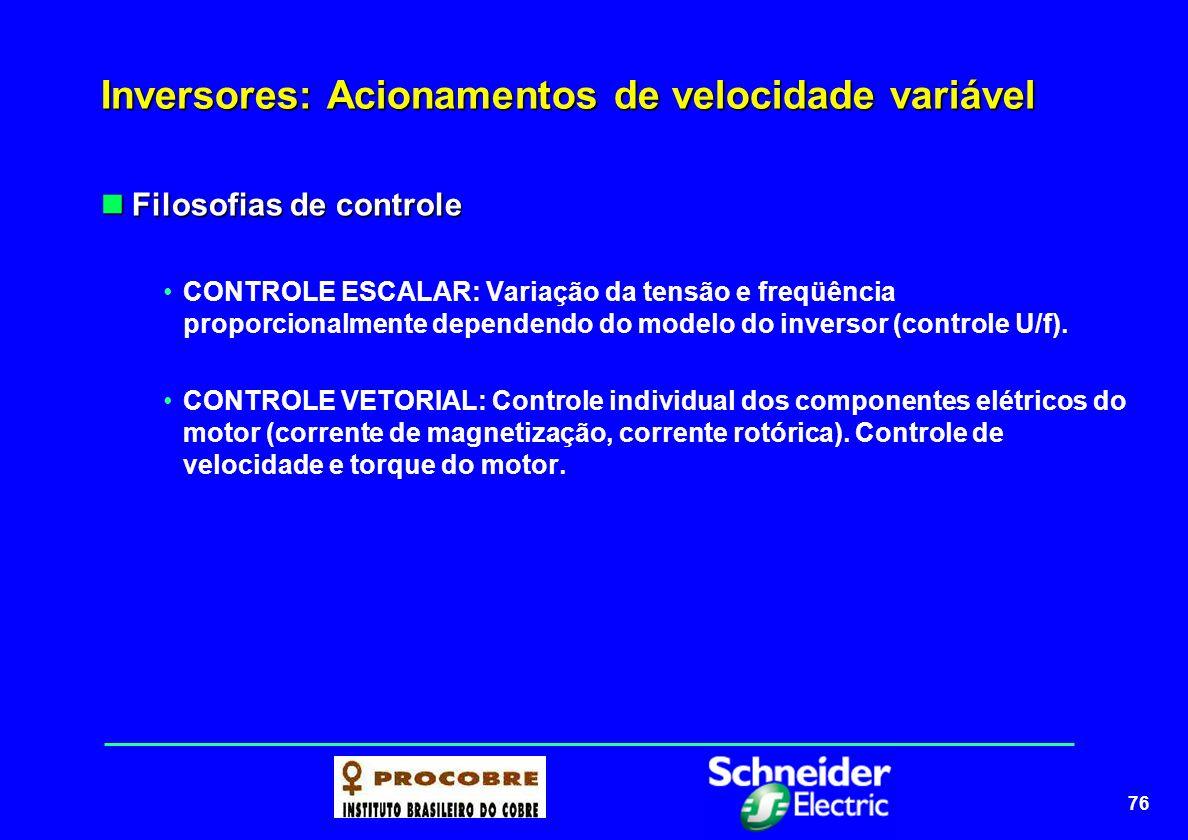 77 Inversores: Acionamentos de velocidade variável Controle escalar de tensão: controle U/f Controle escalar de tensão: controle U/f A variação U/f é feita linearmente até a frequência nominal (ex.