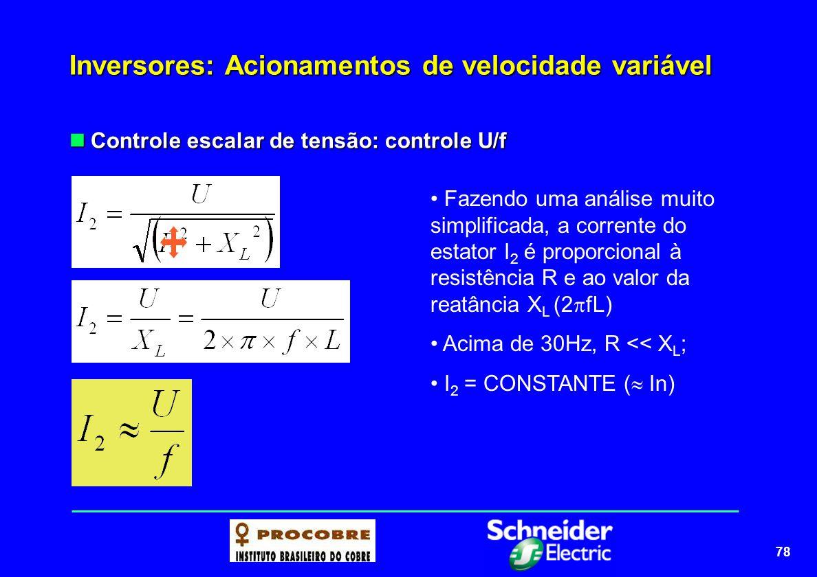 79 Inversores: Acionamentos de velocidade variável Controle escalar de tensão: controle U/f Controle escalar de tensão: controle U/f A região de enfraquecimento de campo é uma região onde o fluxo começa a decrescer e, portanto, o torque também começa a diminuir Constante após f n Aumentando...
