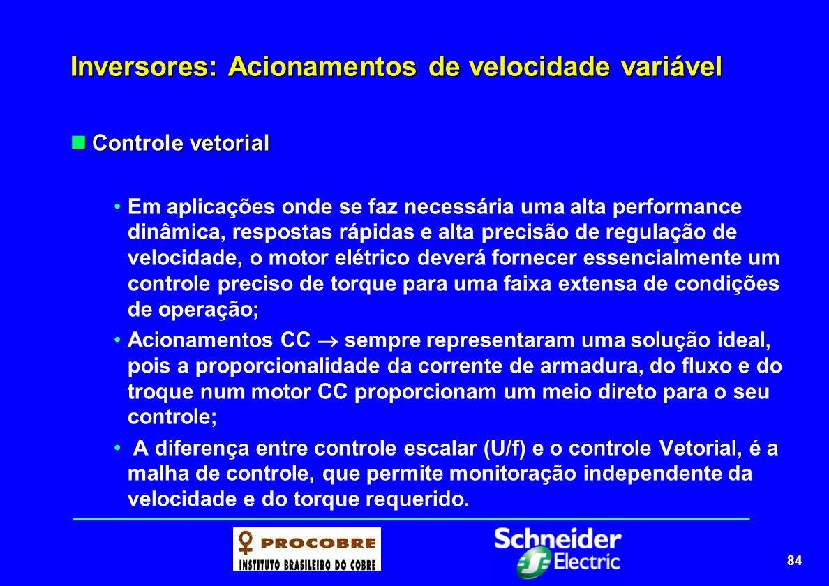 85 Inversores: Acionamentos de velocidade variável Controle vetorial Controle vetorial