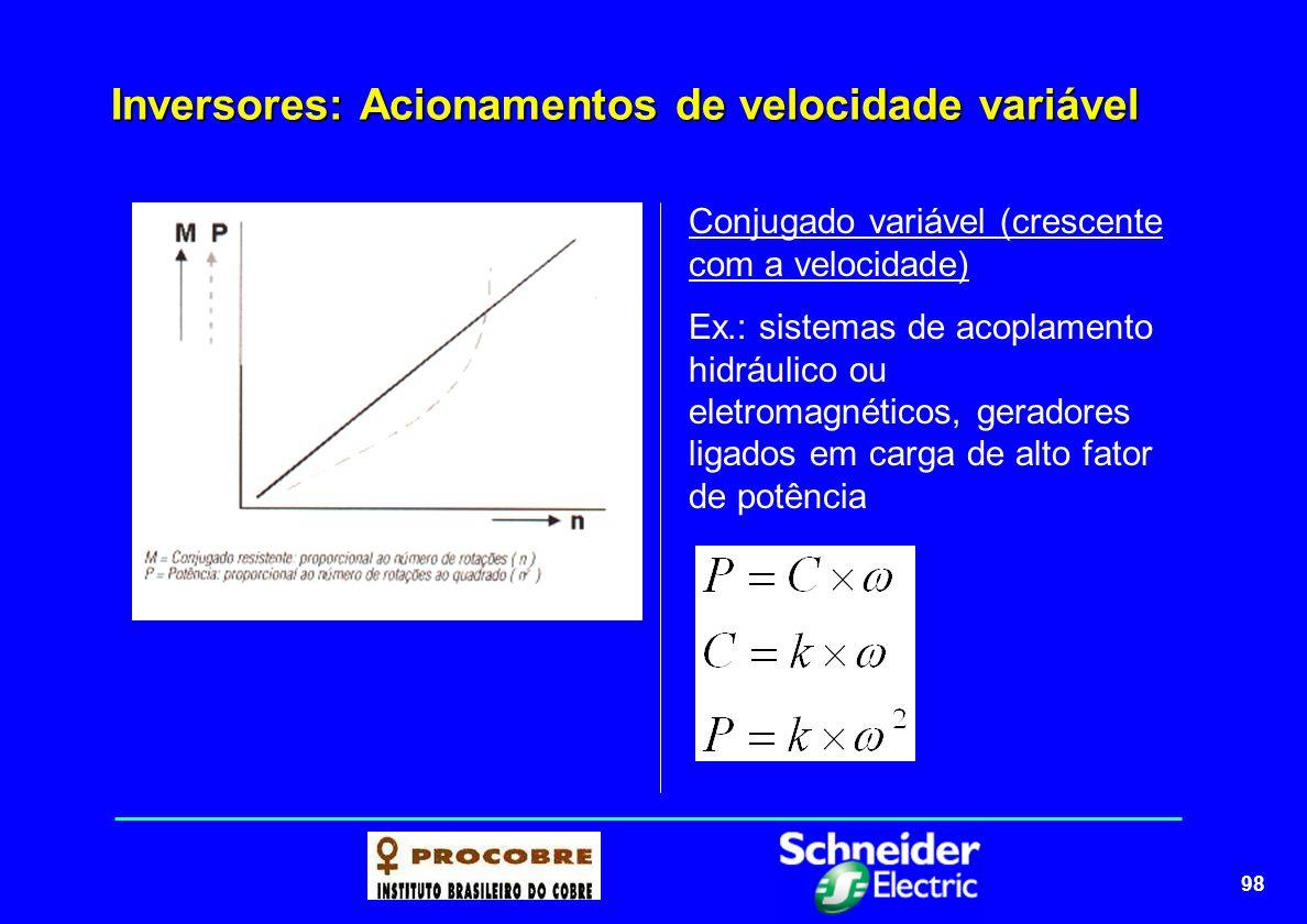 99 Inversores: Acionamentos de velocidade variável Conjugado variável (crescente com o quadrado da velocidade) Ex.: bombas centrífugas e ventiladores.