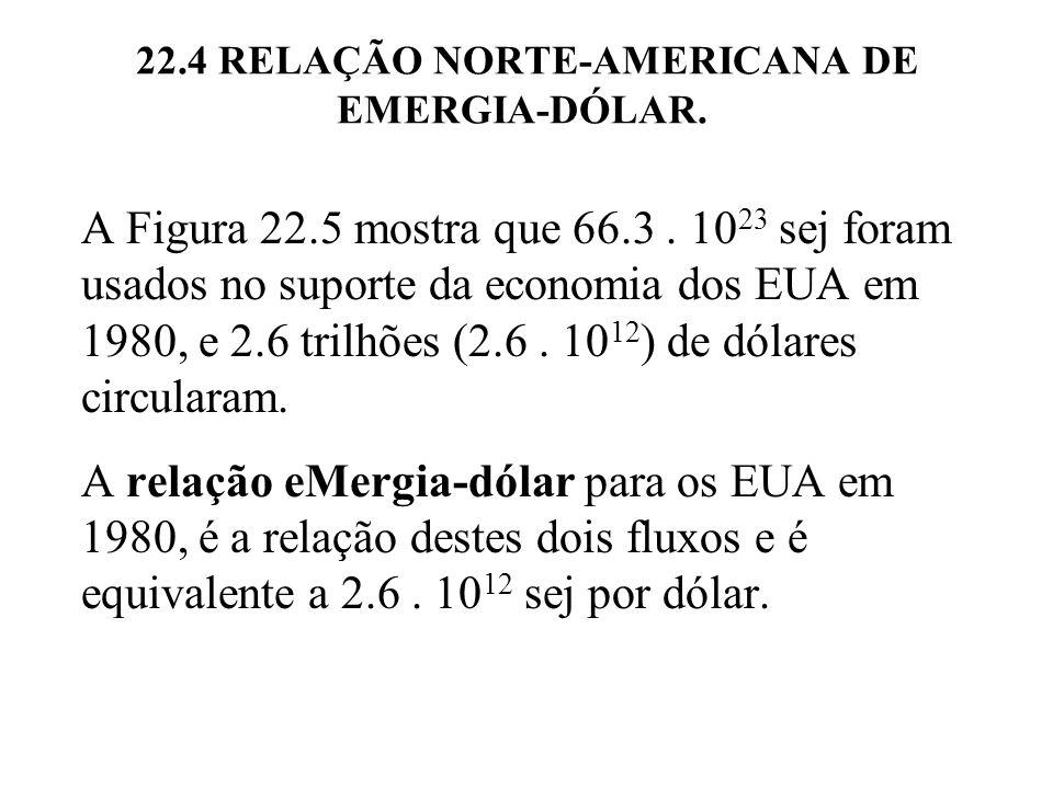 Figura 22.5 eMergia total e fluxo de dólar (PIB) na economia dos EUA em 1980.