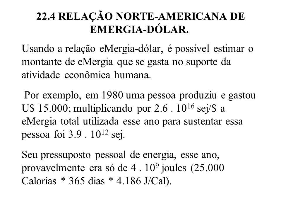 22.4 RELAÇÃO NORTE-AMERICANA DE EMERGIA-DÓLAR.A diferença entre 3.9.