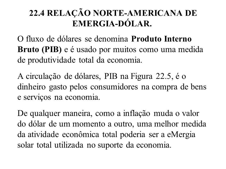 22.5 EMERGIA E INFLAÇÃO A idéia da relação eMergia-dólar também nos permite explicar a inflação.