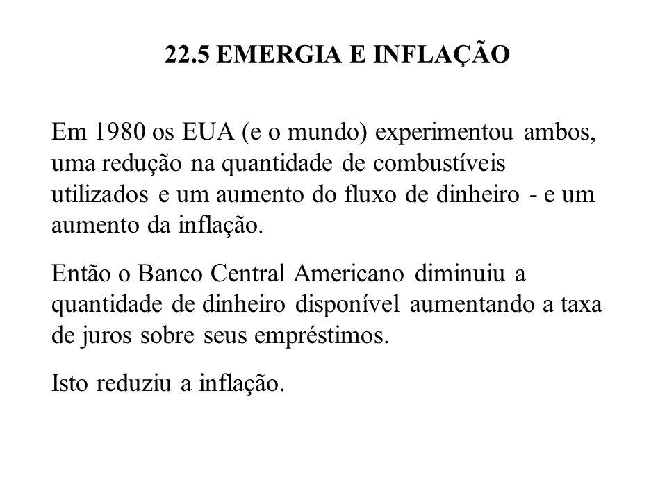 Figura 22.6 Relação de fluxo de eMergia (sej./ano) por fluxo de dólares (PIB).