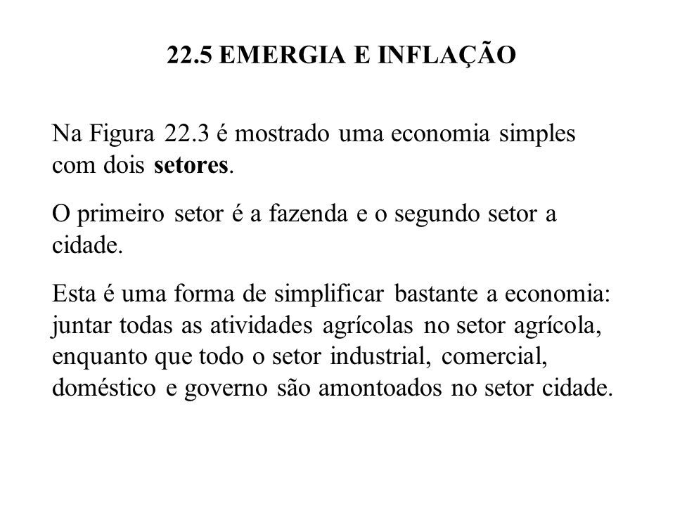 22.5 EMERGIA E INFLAÇÃO O diagrama está incompleto porque não inclui o trabalho que o meio ambiente faz em suportar a atividade econômica humana.