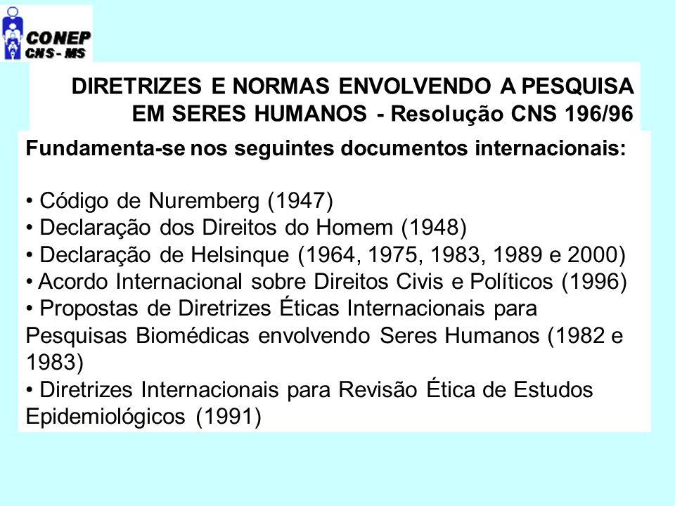 DIRETRIZES E NORMAS ENVOLVENDO A PESQUISA EM SERES HUMANOS - Resolução CNS 196/96 Documentos Nacionais: Constituição da República Federativa do Brasil, 1988 Código de Defesa do Consumidor Estatuto da Criança e do Adolescente Lei Orgânica da Saúde 8.080, 1990 Participação Comunitária na Gestão do SUS (Lei 8.142) Organização e Atribuições do CNS (Dec.