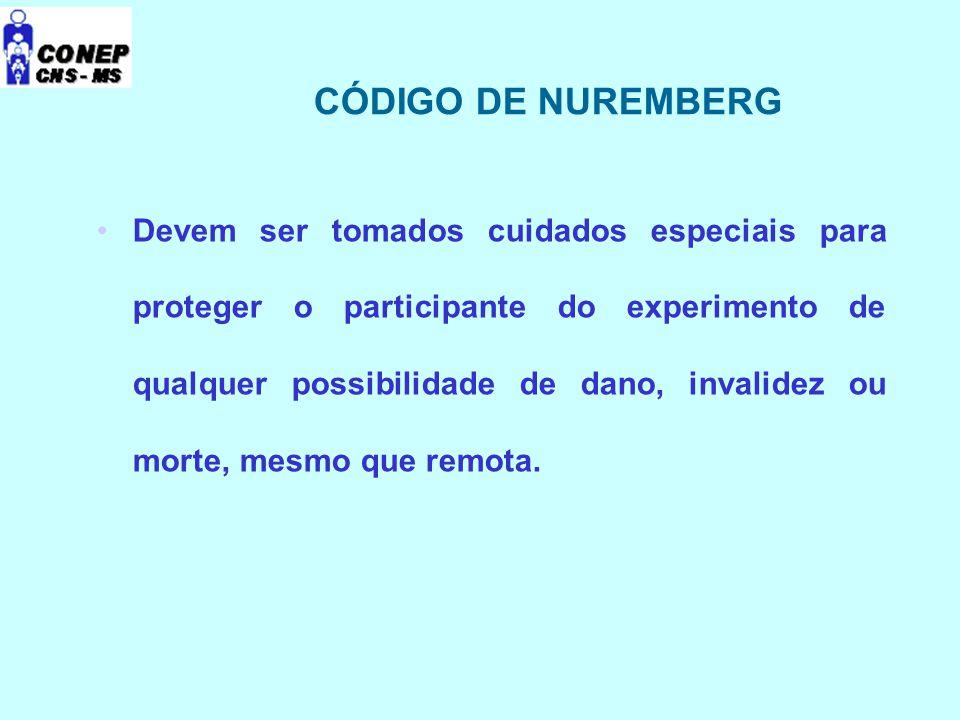 HISTÓRICO DA REGULAMENTAÇÃO Código de Nuremberg ( 1947 ) Declaração Universal dos Direitos Humanos ( 1948 ) Declaração de Helsinque ( 1964, 1975, 1983, 1989, 1996, 2000.