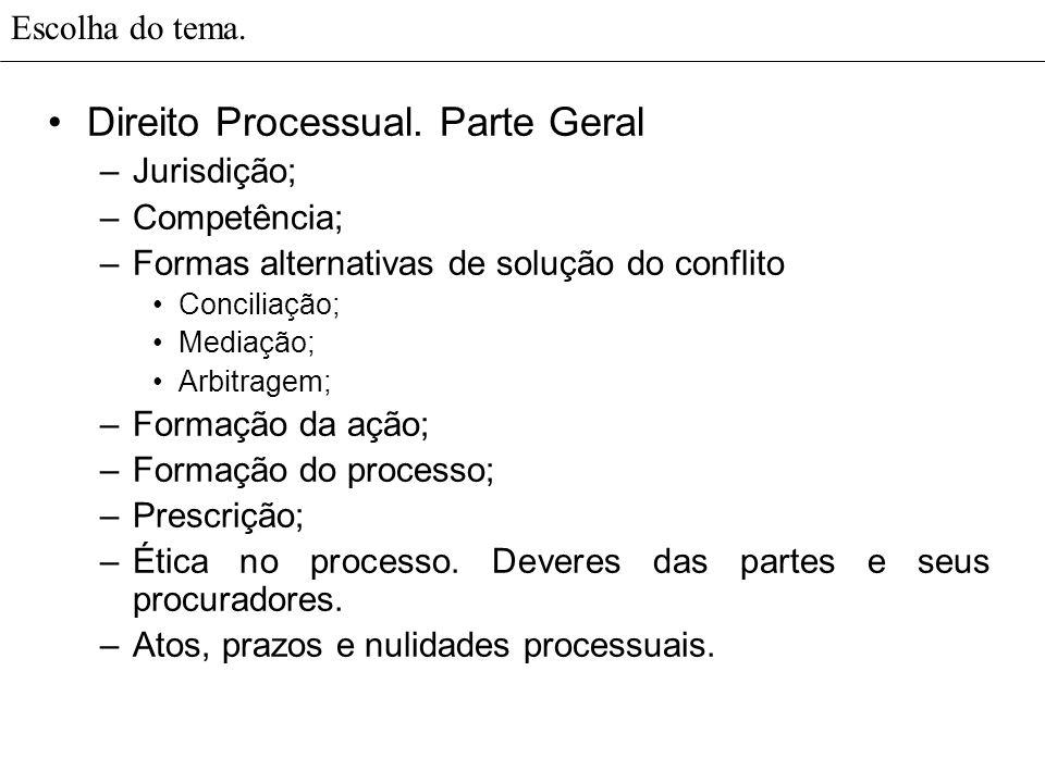 Escolha do tema.Direito Processual. Fase cognitiva.