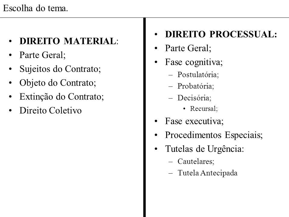 Escolha do tema.Direito Material: Parte Geral.