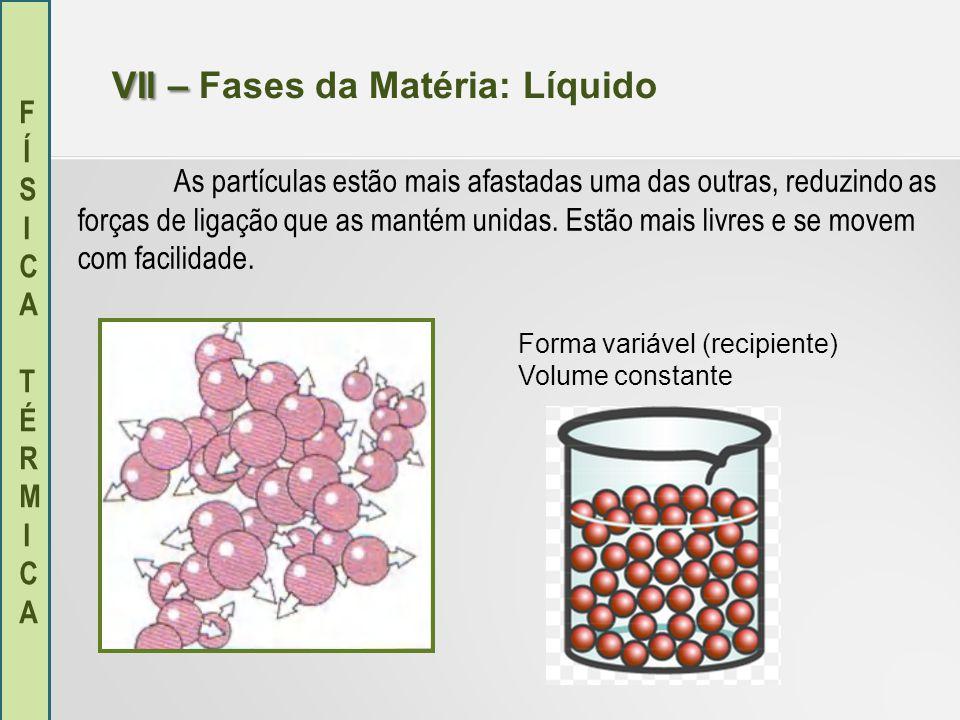 FÍSICA TÉRMICAFÍSICA TÉRMICA VII – VII – Fases da Matéria: Gasoso As partículas encontram-se muito afastadas umas das outras e são praticamente livres.