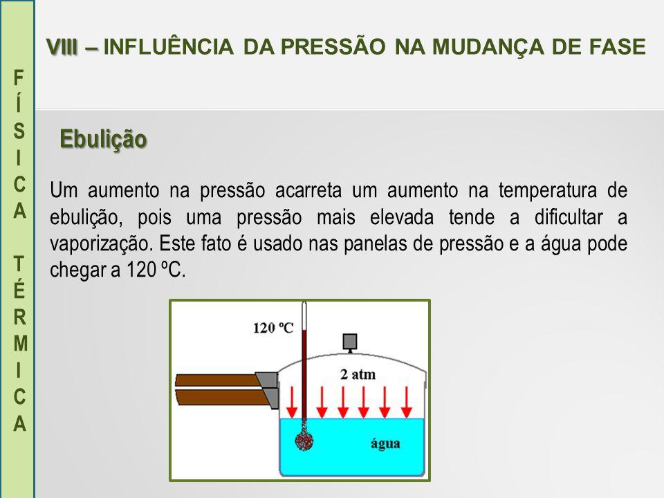 FÍSICA TÉRMICAFÍSICA TÉRMICA VIII – VIII – INFLUÊNCIA DA PRESSÃO NA MUDANÇA DE FASE Com a altitude a pressão atmosférica vai diminuindo e o ponto de ebulição da água também.