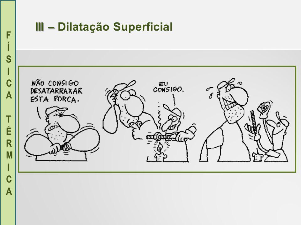 FÍSICA TÉRMICAFÍSICA TÉRMICA IV – IV – Dilatação Volumétrica Em algumas situações, nos preocuparemos apenas com a variação no volume de um corpo, neste caso, utilizaremos a dilatação volumétrica.