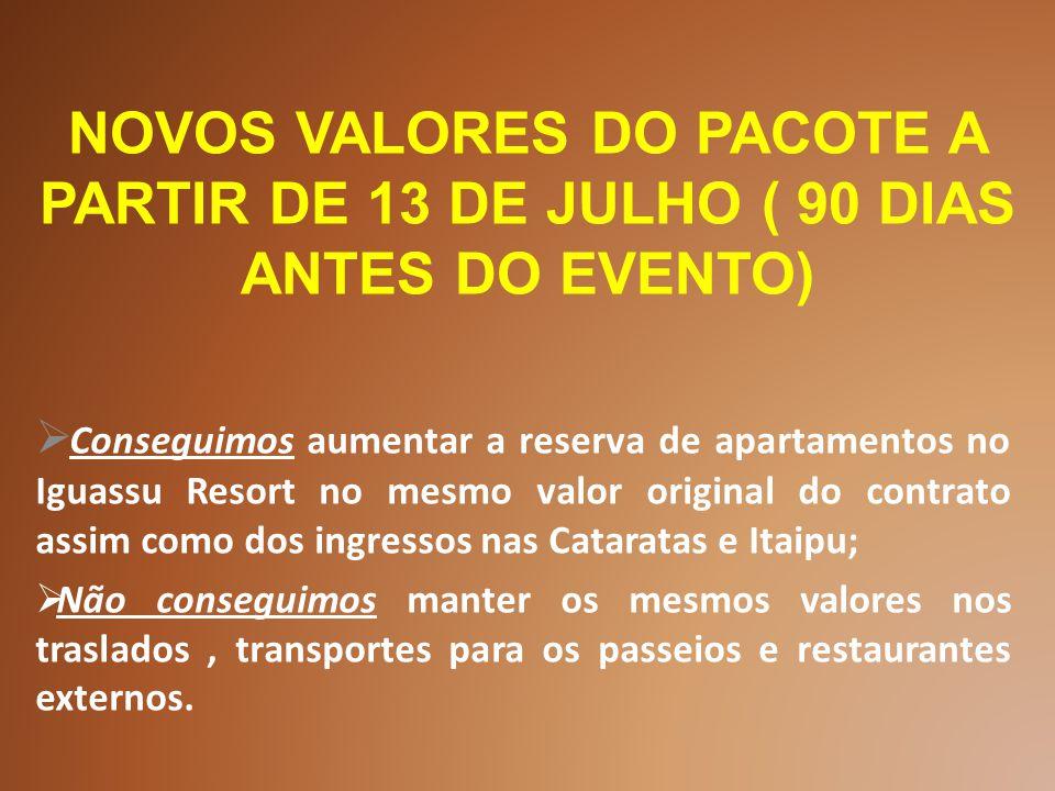  Conseguimos aumentar a reserva de apartamentos no Iguassu Resort no mesmo valor original do contrato assim como dos ingressos nas Cataratas e Itaipu;  Não conseguimos manter os mesmos valores nos traslados, transportes para os passeios e restaurantes externos.