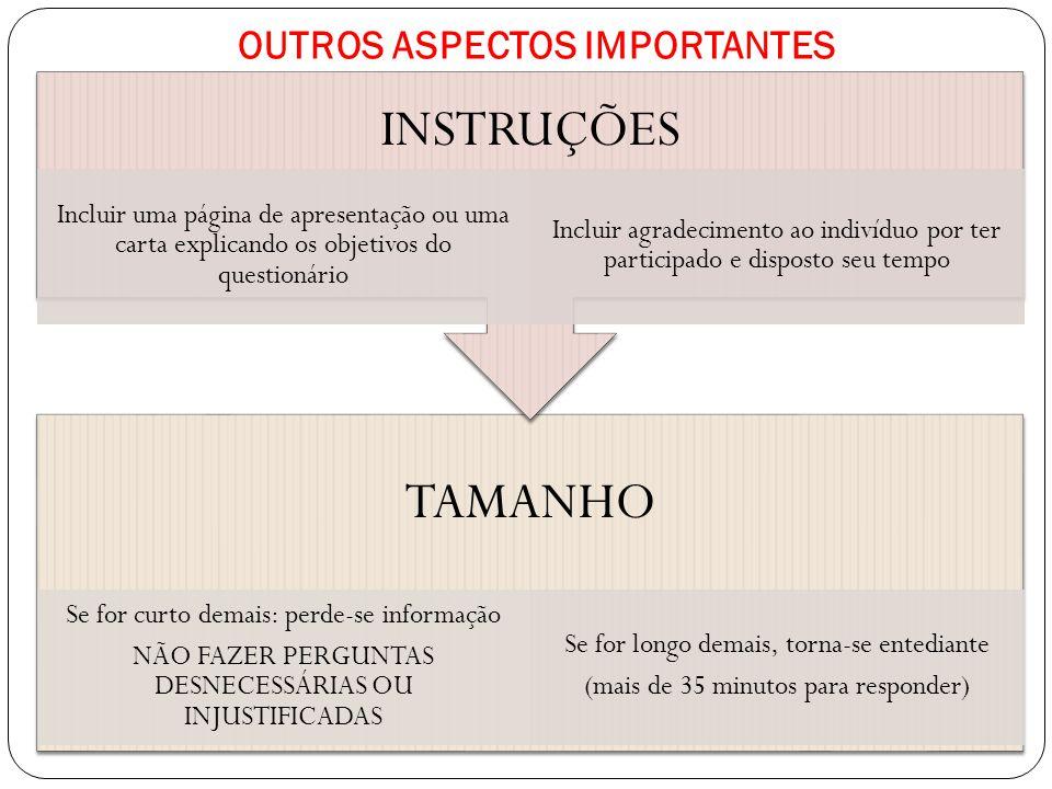 OUTROS ASPECTOS IMPORTANTES AUTO-ADMINISTRADO POR ENTREVISTA PESSOALPOR ENTREVISTA TELEFÔNICA ENVIADO POR CORREIO POSTAL, ELETRÔNICO OU SERVIÇO MENSAGENS PELA INTERNET