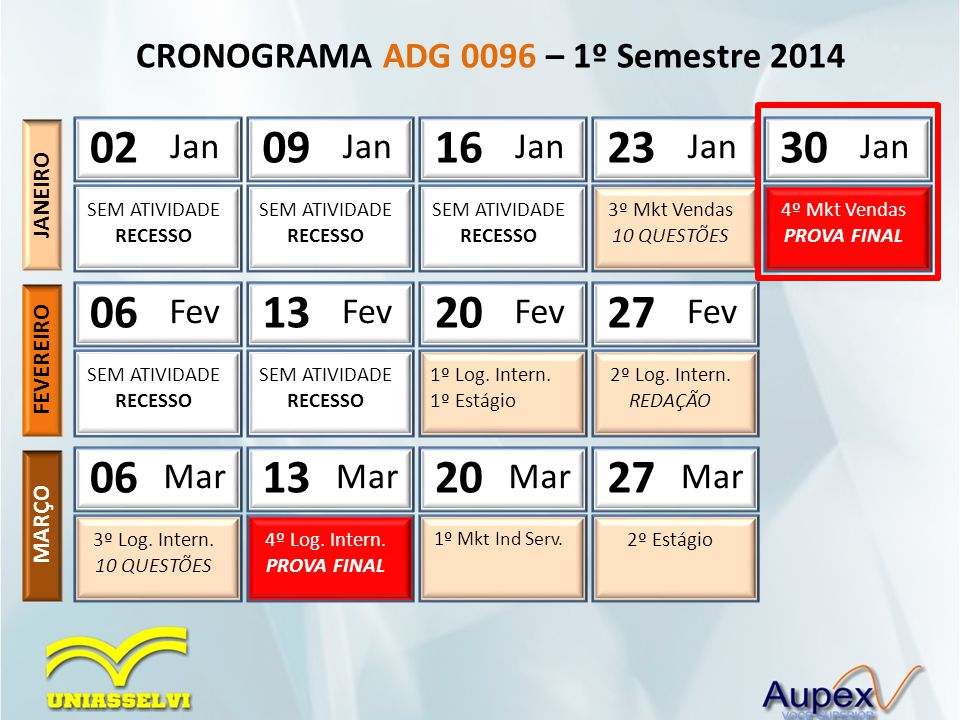 CRONOGRAMA ADG 0096 – 1º Semestre 2014 03 Abr 2º Mkt Ind Serv.
