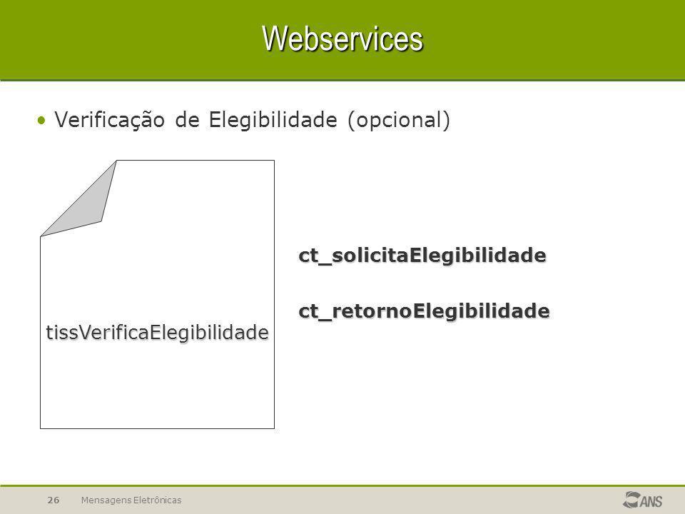 Mensagens Eletrônicas26 Webservices Verificação de Elegibilidade (opcional) ct_solicitaElegibilidade ct_retornoElegibilidade tissVerificaElegibilidade