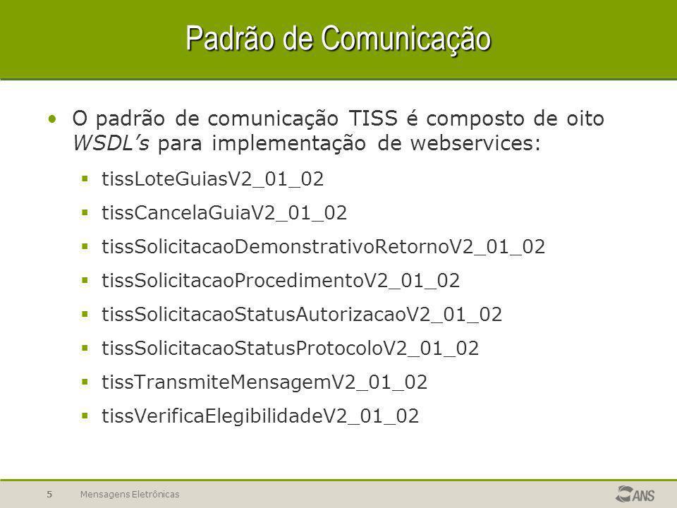 Mensagens Eletrônicas5 Padrão de Comunicação O padrão de comunicação TISS é composto de oito WSDL's para implementação de webservices:  tissLoteGuiasV2_01_02  tissCancelaGuiaV2_01_02  tissSolicitacaoDemonstrativoRetornoV2_01_02  tissSolicitacaoProcedimentoV2_01_02  tissSolicitacaoStatusAutorizacaoV2_01_02  tissSolicitacaoStatusProtocoloV2_01_02  tissTransmiteMensagemV2_01_02  tissVerificaElegibilidadeV2_01_02
