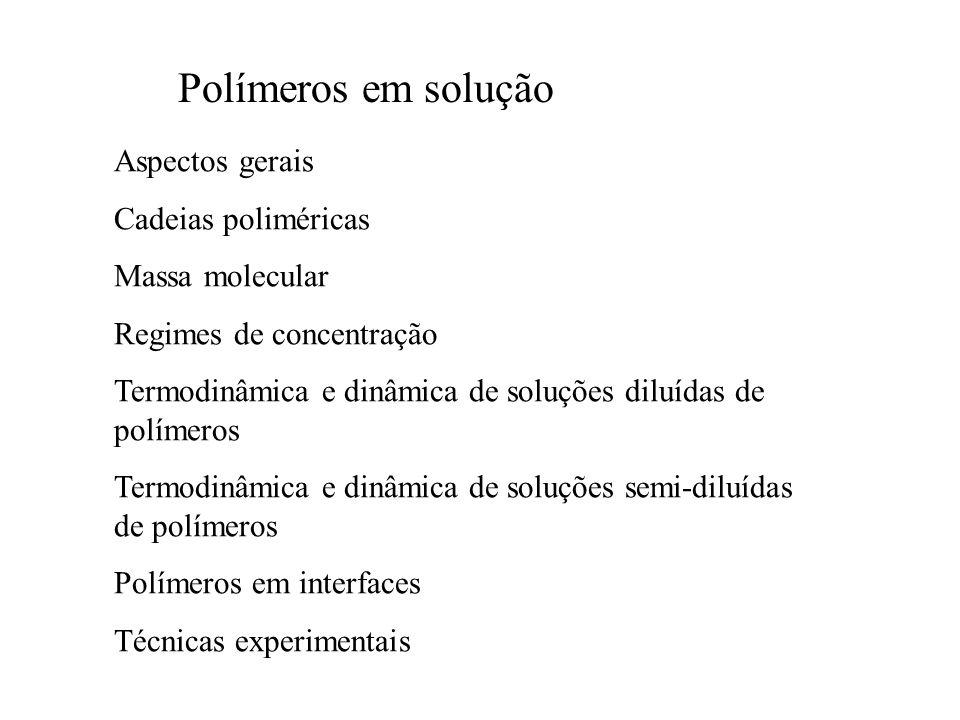 Polímeros em solução O que diferencia de monômeros em solução.