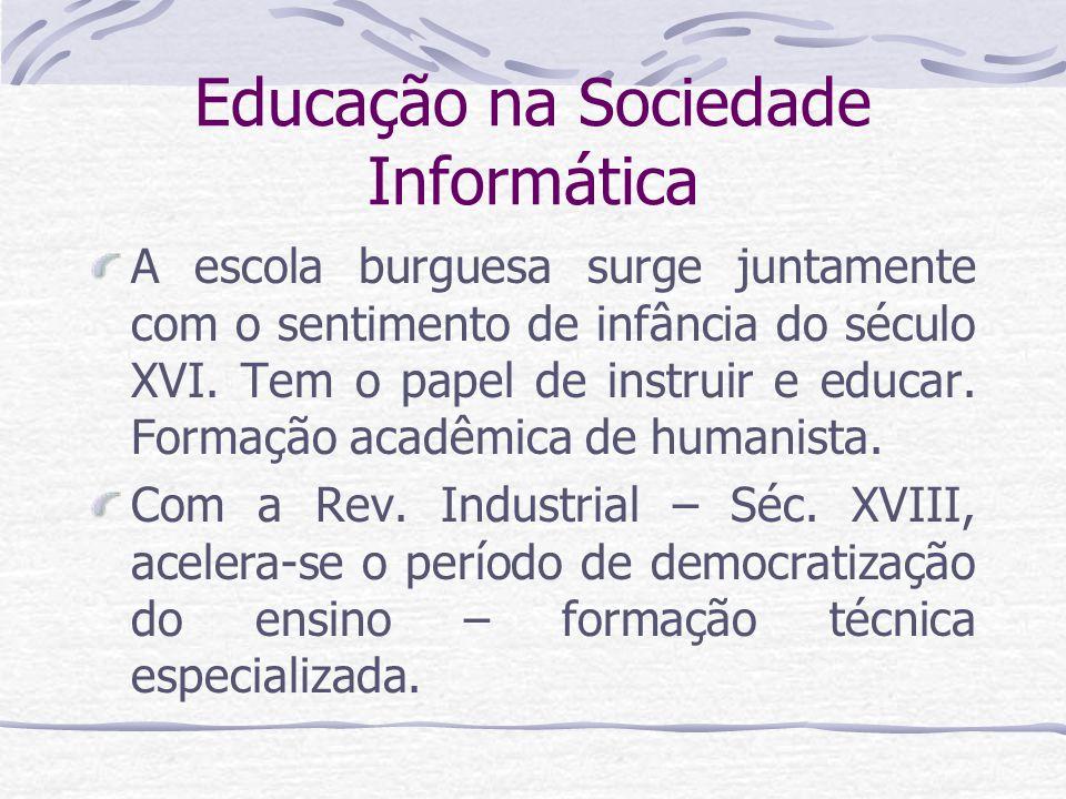 Educação na Sociedade Informática Somente no Séc.