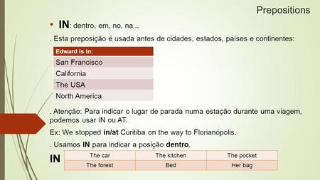 IN: dentro, em, no, na... IN Prepositions