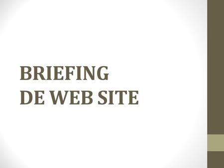 BRIEFING DE WEB SITE.