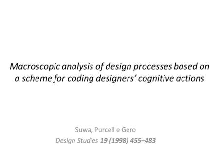 Macroscopic analysis of design processes based on a scheme for coding designers' cognitive actions Suwa, Purcell e Gero Design Studies 19 (1998) 455–483.