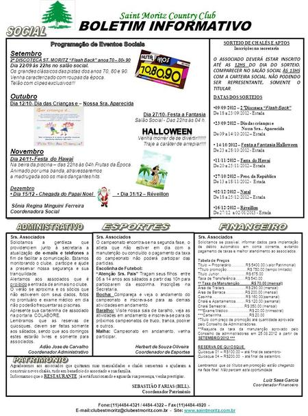 BOLETIM INFORMATIVO Saint Moritz Country Club SOCIAL HALLOWEEN