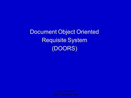 Luis Sobral 3921 Carlos Marcelino 3949 1 Document Object Oriented Requisite System (DOORS)