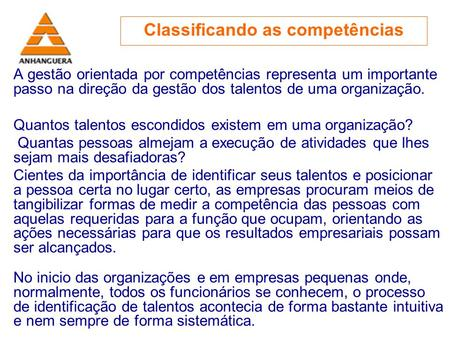 Classificando as competências