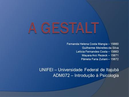 A GESTALT UNIFEI – Universidade Federal de Itajubá