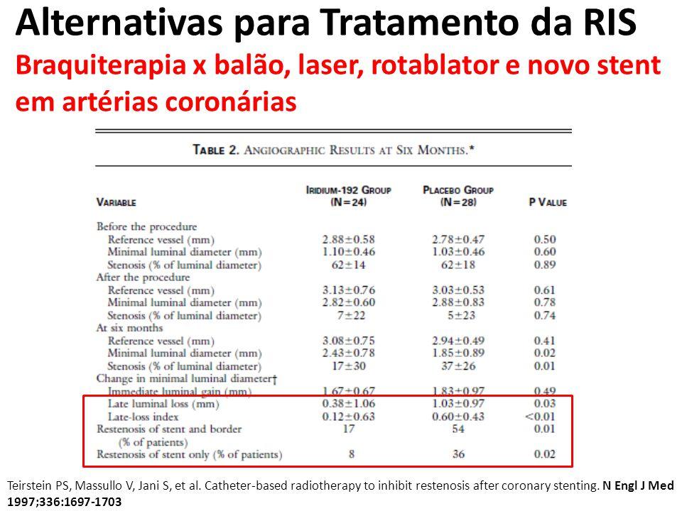 Alternativas para Tratamento da RIS Braquiterapia x balão, laser, rotablator e novo stent em pontes safenas Intravascular Gamma Radiation for In-Stent Restenosis in Saphenous-Vein Bypass Grafts.