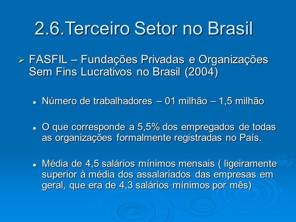  The Johns Hopkins Center for Civil Society Studies (2005) 5% do PIB = R$ 96,9 Bilhões 5% do PIB = R$ 96,9 Bilhões Participação superior a de setores expressivos na economia brasileira como: extração mineral ( ferro, carvão, gás natural, petróleo) Participação superior a de setores expressivos na economia brasileira como: extração mineral ( ferro, carvão, gás natural, petróleo) Maior que a participação de 22 Estados brasileiros ( só fica atrás de: SP, RJ, MG, RGS E PR Maior que a participação de 22 Estados brasileiros ( só fica atrás de: SP, RJ, MG, RGS E PR