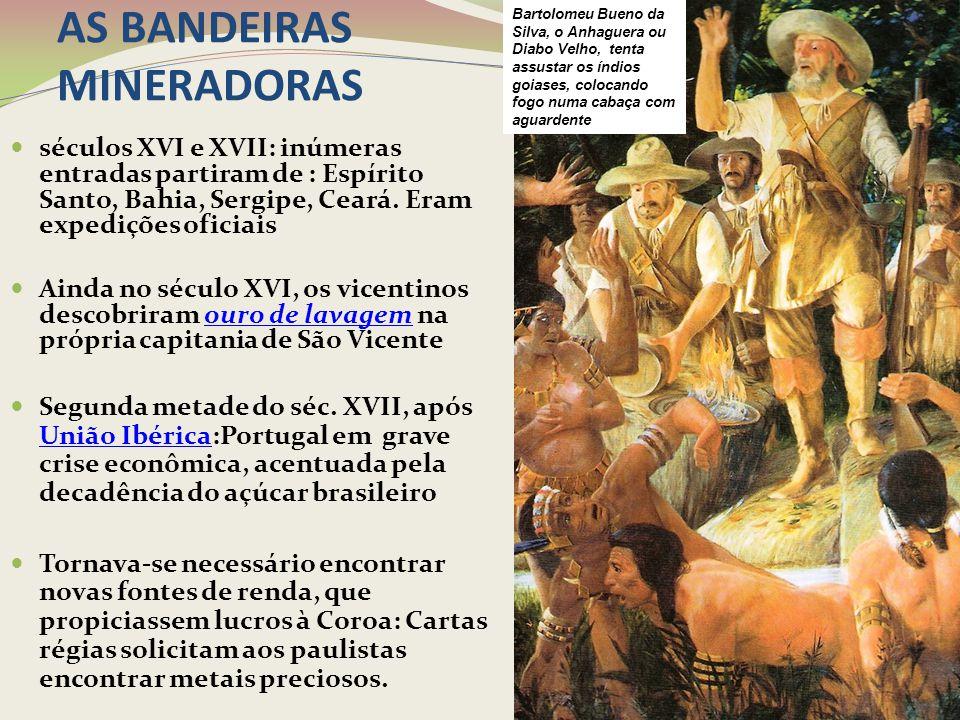 AS BANDEIRAS MINERADORAS 1699 – Rodrigues Arzão descobre ouro em Minas Gerais Inicia-se a corrida do ouro que levará ao povoamento de Minas Gerais e ao surgimento de inúmeras vilas na região