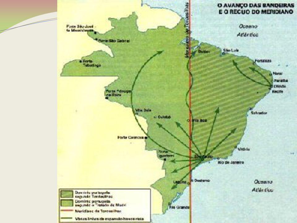 O TRATADO DE MADRI, DE 1750, RECONHECEU A OCUPAÇÃO PORTUGUESA ALÉM TORDESILHAS Tratado de Madri (1750) : anulação do Tratado de Tordesilhas Portugal garantia o controle da maior parte da Bacia Amazônica, enquanto que a Espanha controlava a maior parte da bacia do Prata.