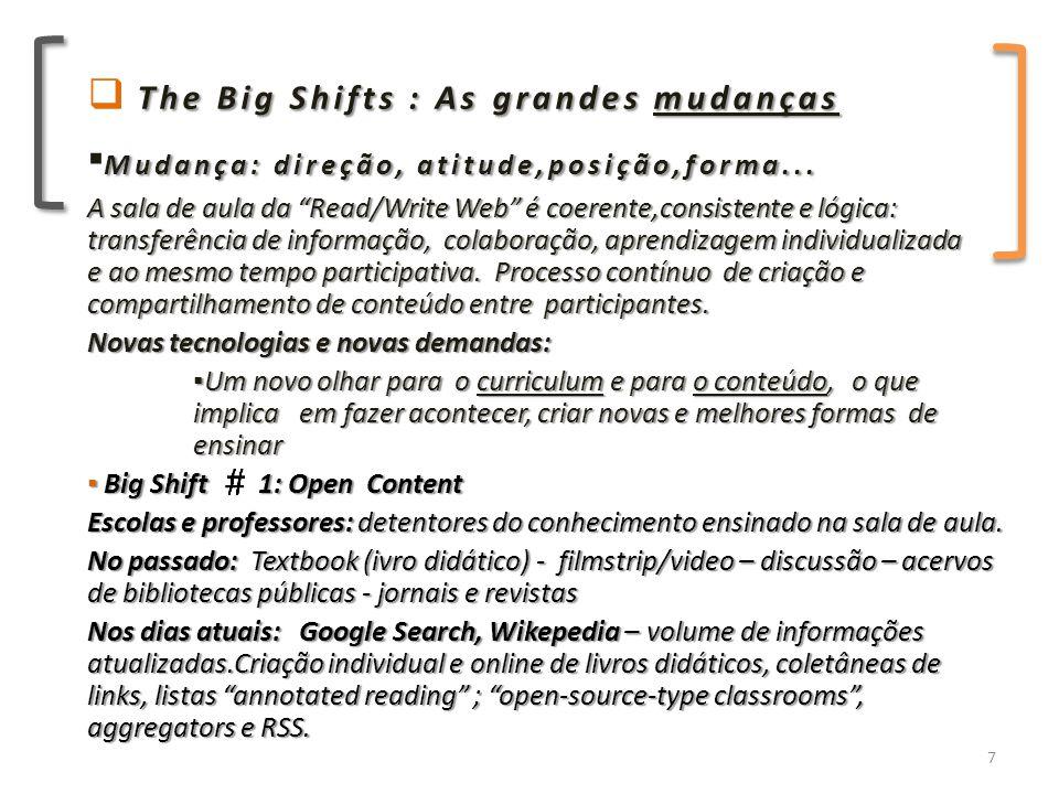 ▪ Big Shift 2: Many, Many teachers, and 24/7 Learning Aumenta o acesso ao conteúdo, a outros professores e a outras culturas: é o compartilhamento de informações, ideias e experiências.