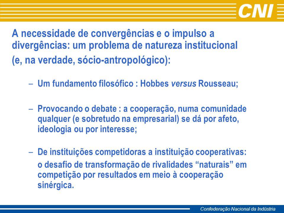 Confederação Nacional da Indústria Constataçaõ: projetos PIP de base territorial (clusters) envolvem sempre uma problemática de dinâmica interinstitucional em condições de ausência de lideranças formais e sem cadeia hierárquica.