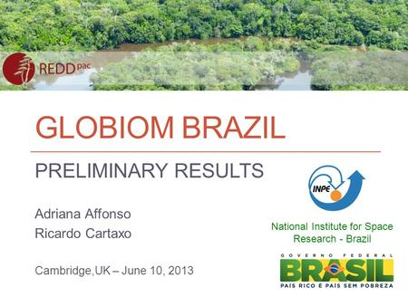 GLOBIOM BRAZIL PRELIMINARY RESULTS Adriana Affonso Ricardo Cartaxo Cambridge,UK – June 10, 2013 National Institute for Space Research - Brazil.