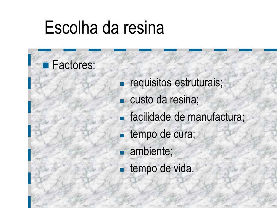 Escolha da resina Estruturas compostas implicam a combinação de vários tipos de resinas e a utilização de aditivos que controlam: viscosidade da resina; resistência contra raios UV; resistência á tensão de corte interlaminar; tensão superficial da resina; cor.