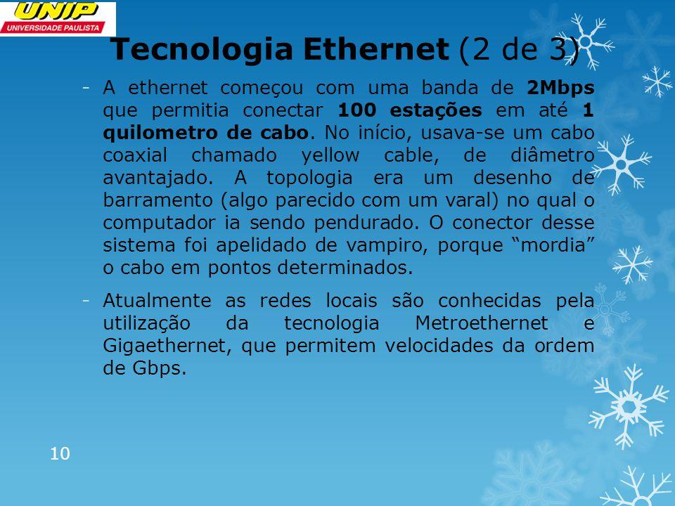 Tecnologia Ethernet (3 de 3) - O sistema Ethernet foi padronizado pelas especificações do IEEE (Instituto dos Engenheiros de Eletricidade e Eletrônica), órgão que, entre outras funções, elabora normas técnicas de engenharia eletrônica.