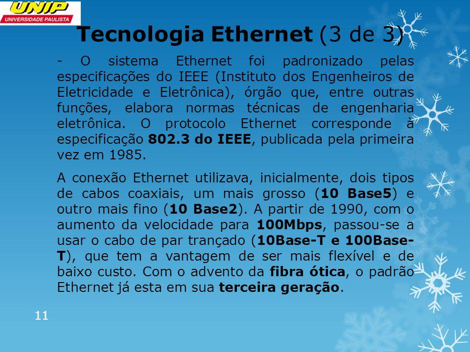 O Mercado da Informação (1 de 3) -Tecnologias de Acesso para Redes Locais -Ethernet- a mais difundida e utilizada até os dias de hoje (DIX dissiminou este padrão para velocidades até 10Mbps) -Token Ring – tecnologia difundida pela IBM -Arcnet – tecnologia da Datapoint (utilizada ainda no Japão para automação industrial).
