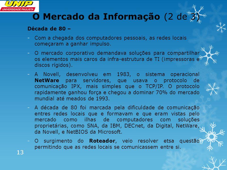 O Mercado da Informação (3 de 3) O TCP/IP -Surge quando a Arpanet passa a ser de fato a Internet e adota o protocolo TCP/IP -Posteriormente surge outra inovação, o DNS (Domain Name System), que é um mecanismo para resolver os nomes e endereço dos servidores da rede.