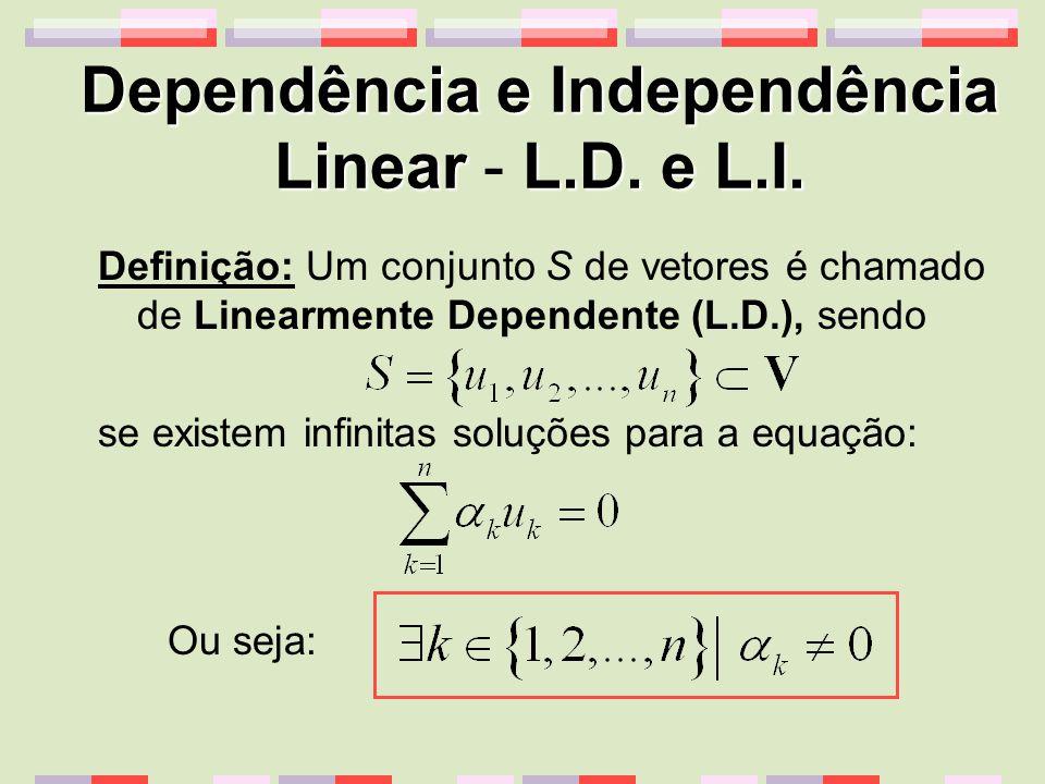 Dependência e Independência LinearL.D.e L.I. Dependência e Independência Linear - L.D.