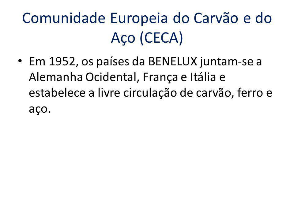 Comunidade Econômica Europeia (CEE) Criada em 1957 através do Tratado de Roma, ampliou para outras mercadorias as facilidades de trocas comerciais estabelecidas para o carvão, ferro e aço.