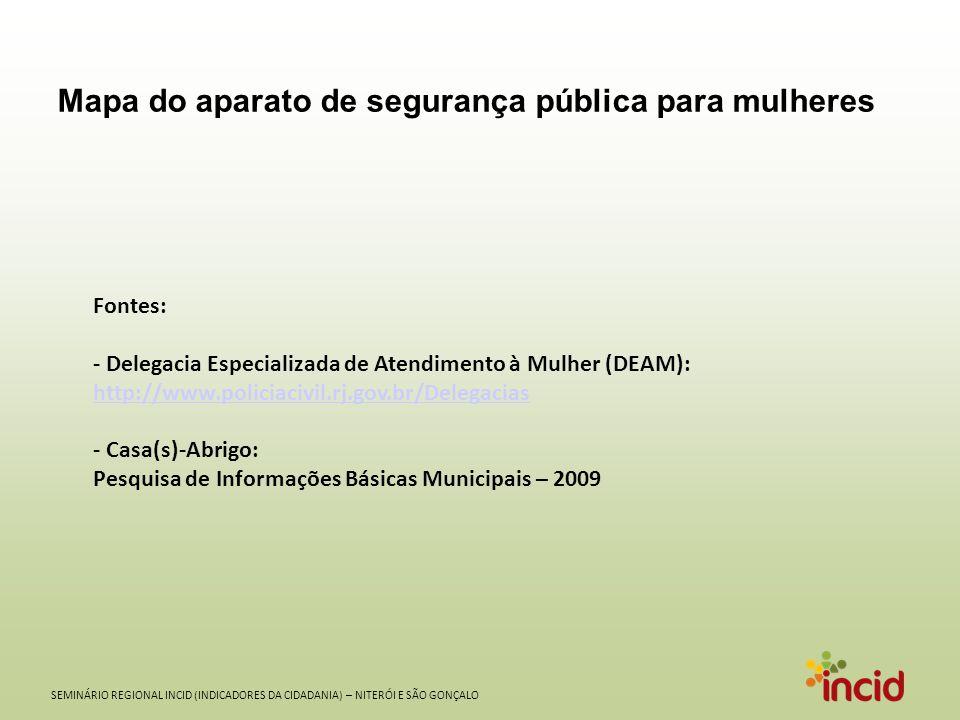SEMINÁRIO REGIONAL INCID (INDICADORES DA CIDADANIA) – NITERÓI E SÃO GONÇALO DEAM Casa-Abrigo Aparato de segurança pública para mulheres