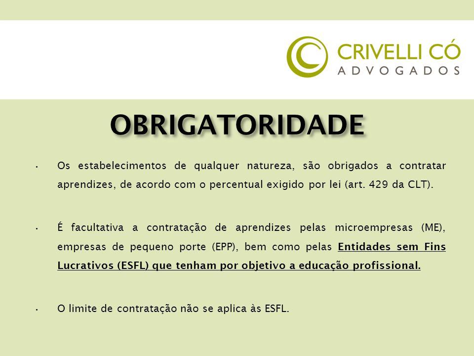 COTAS DE APRENDIZES COTA MÍNIMA: 5% por estabelecimento BASE DE CÁLCULO empregados cujas funções demandem formação profissional – VERIFICAR CBO.