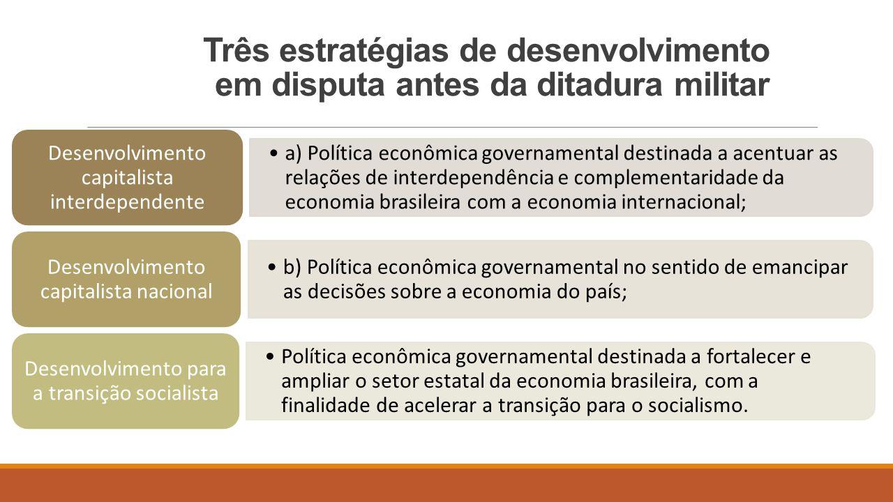 A) Estratégia de desenvolvimento capitalista interdependente  O Brasil entra no século XX comprometido com a estratégia de desenvolvimento capitalista dependente.