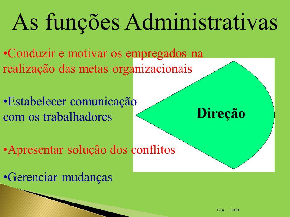 TGA - 2009 As funções Administrativas Conduzir e motivar os empregados na realização das metas organizacionais Estabelecer comunicação com os trabalhadores Apresentar solução dos conflitos Gerenciar mudanças