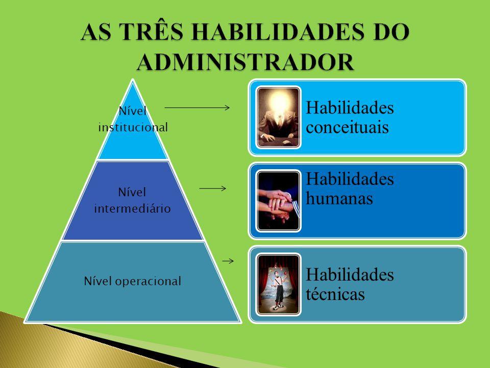 Nível institucional Nível intermediário Nível operacional Habilidades conceituais Habilidades humanas Habilidades técnicas