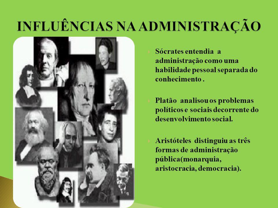  Sócrates entendia a administração como uma habilidade pessoal separada do conhecimento.