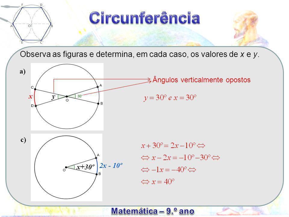 Ângulo inscrito Um ângulo formado por duas cordas designa- se ângulo inscrito (o vértice do ângulo coincide com um ponto da circunferência) E c F D A amplitude de um ângulo inscrito é igual a metade da amplitude do arco compreendido entre os seus lados O ângulo ao centro tem de amplitude 80º, logo a amplitude do arco correspondente também é 80º, o que significa que a amplitude do ângulo inscrito é igual a metade da do arco correspondente (80º/2=40º).